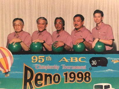 Sandy (second from left) and his bowling team