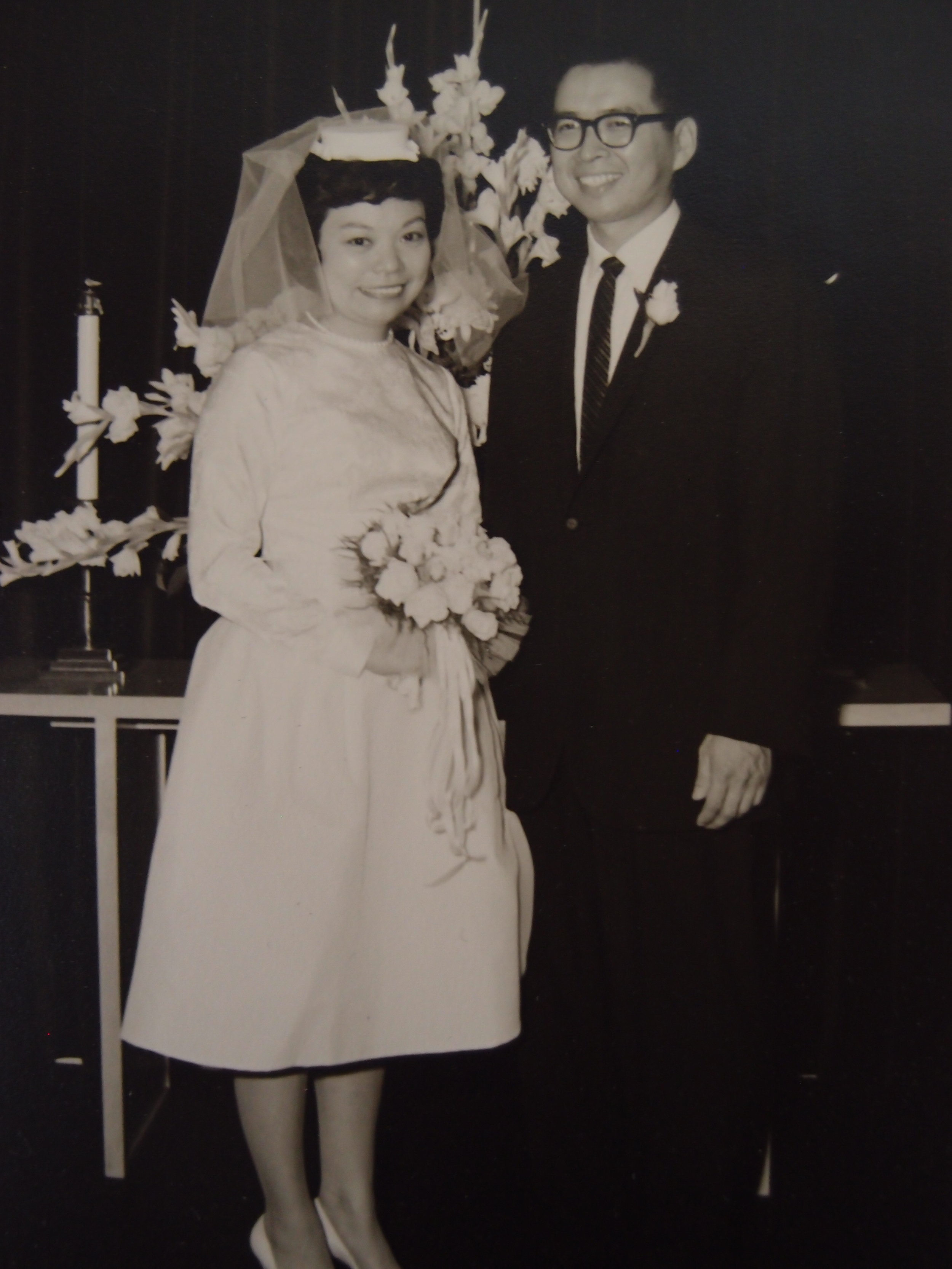 Ann and Konito Sato on their wedding day. He worked for the Dial Corporation, formerly Armour and Company.