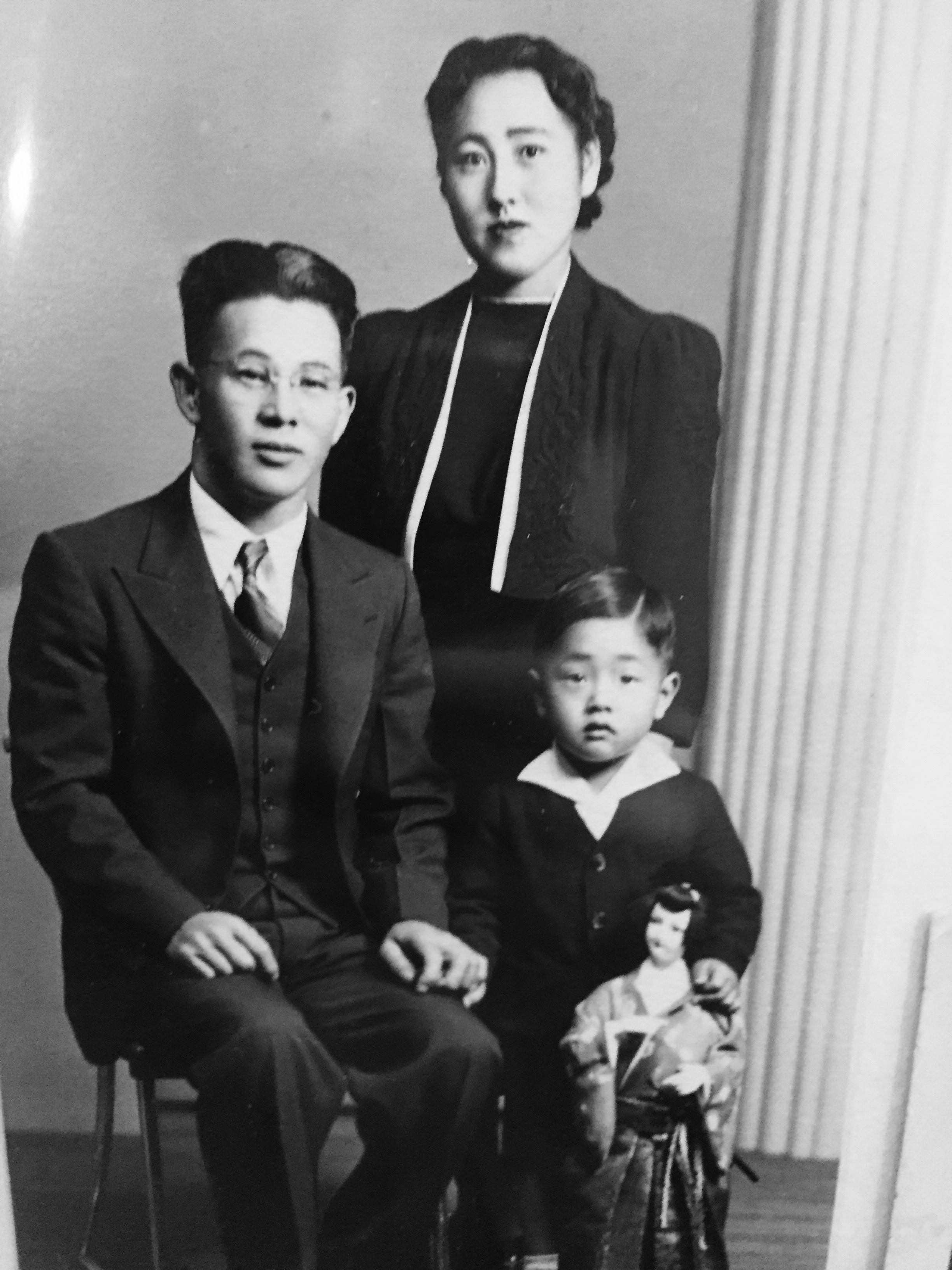 Howard (age 3) and his parents, Masaru and Yukiye. Howard's mother was deeply affected by what she saw happening in the camps: A lack of decency and dignity for people who once lived autonomously. Howard recalls that his family visited the camp in Utah, Topaz, and were invited to eat a meal in the mess hall. His mother broke down and cried when she saw people standing in line with trays to eat.