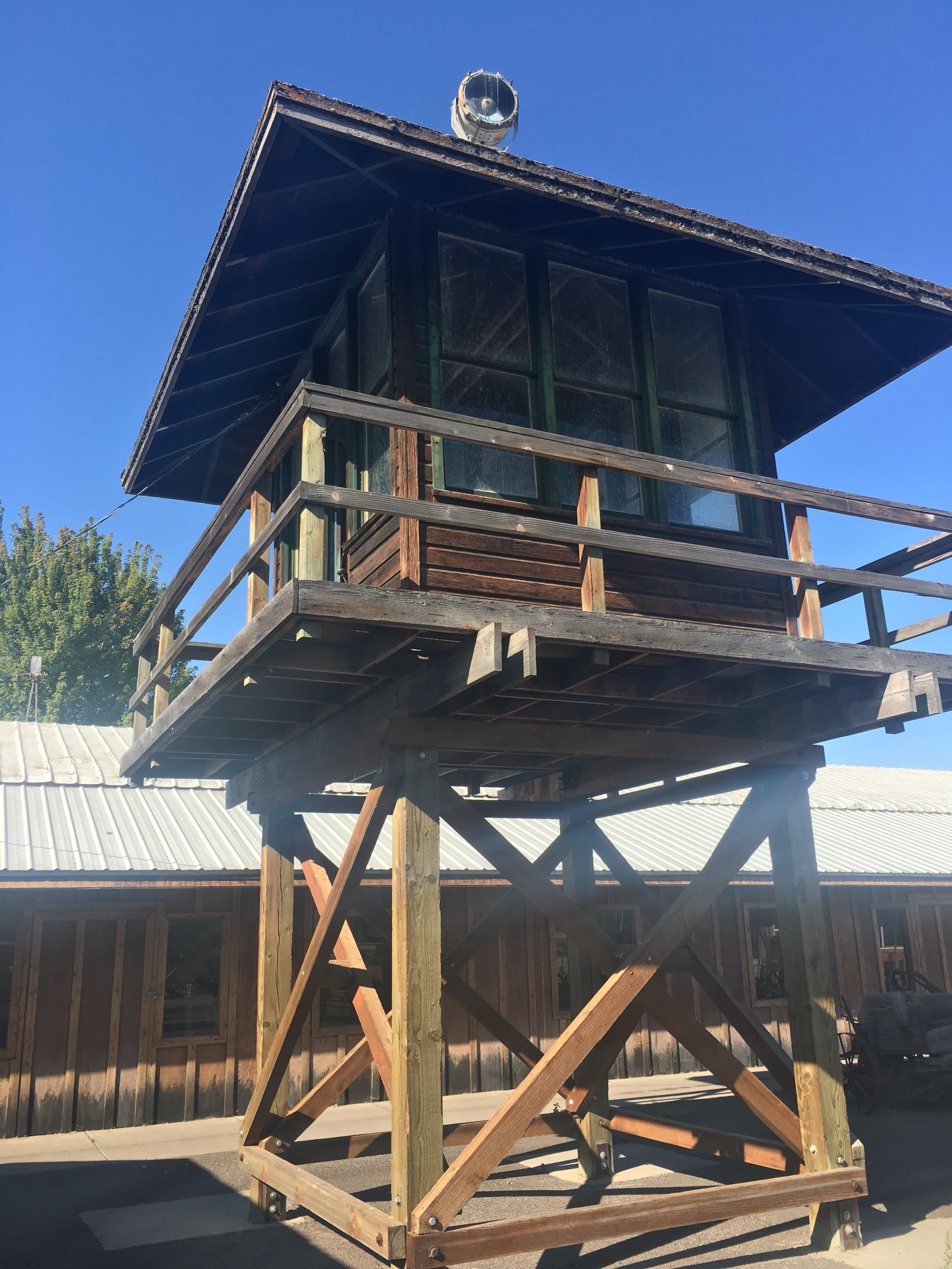 A replica of a Tule Lake guard tower