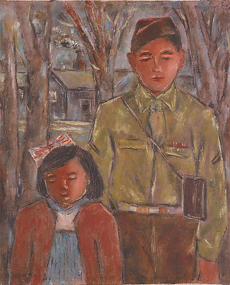 Uncle Ralph and Sumile in Camp Jerome by Henry Sugimoto. Gift of Madeleine Sugimoto and Naomi Tagawa, Japanese American National Museum (92.97.79)
