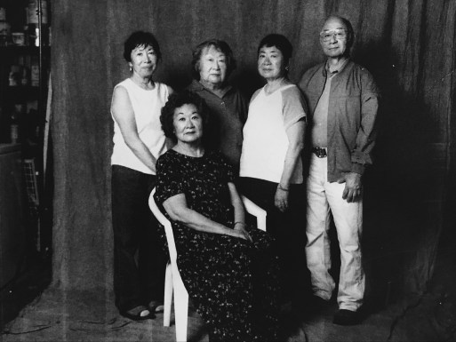 Kay and her siblings, photographed by Paul Kitagaki. From left to right: Hiroko, Satsuki, Kayoko, Tooru and Miyuki (seated).