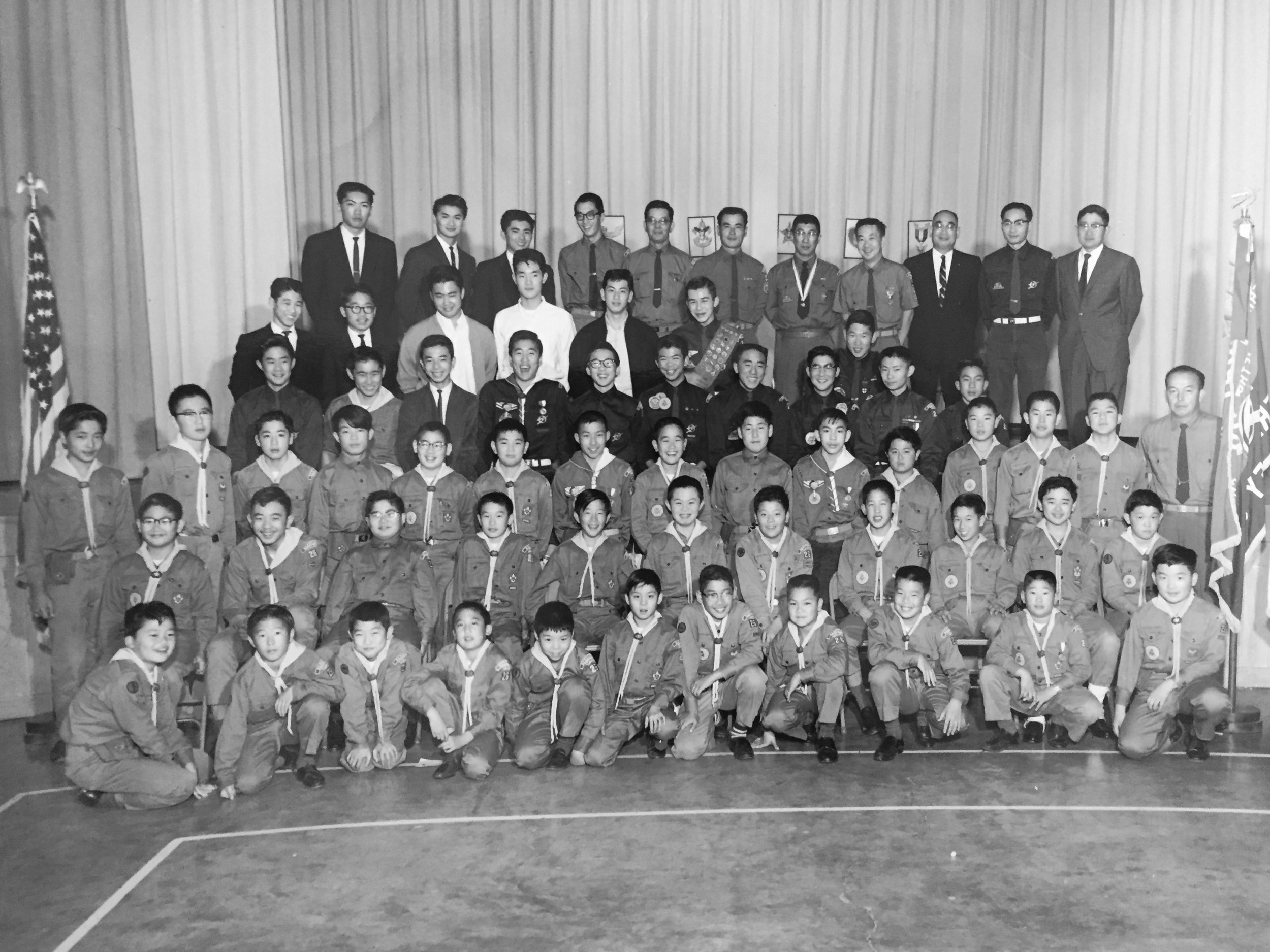 Jordan began his Berkeley Boy Scout troop when he was 26 and led it for 37 years. He is in the top row, fifth from right.