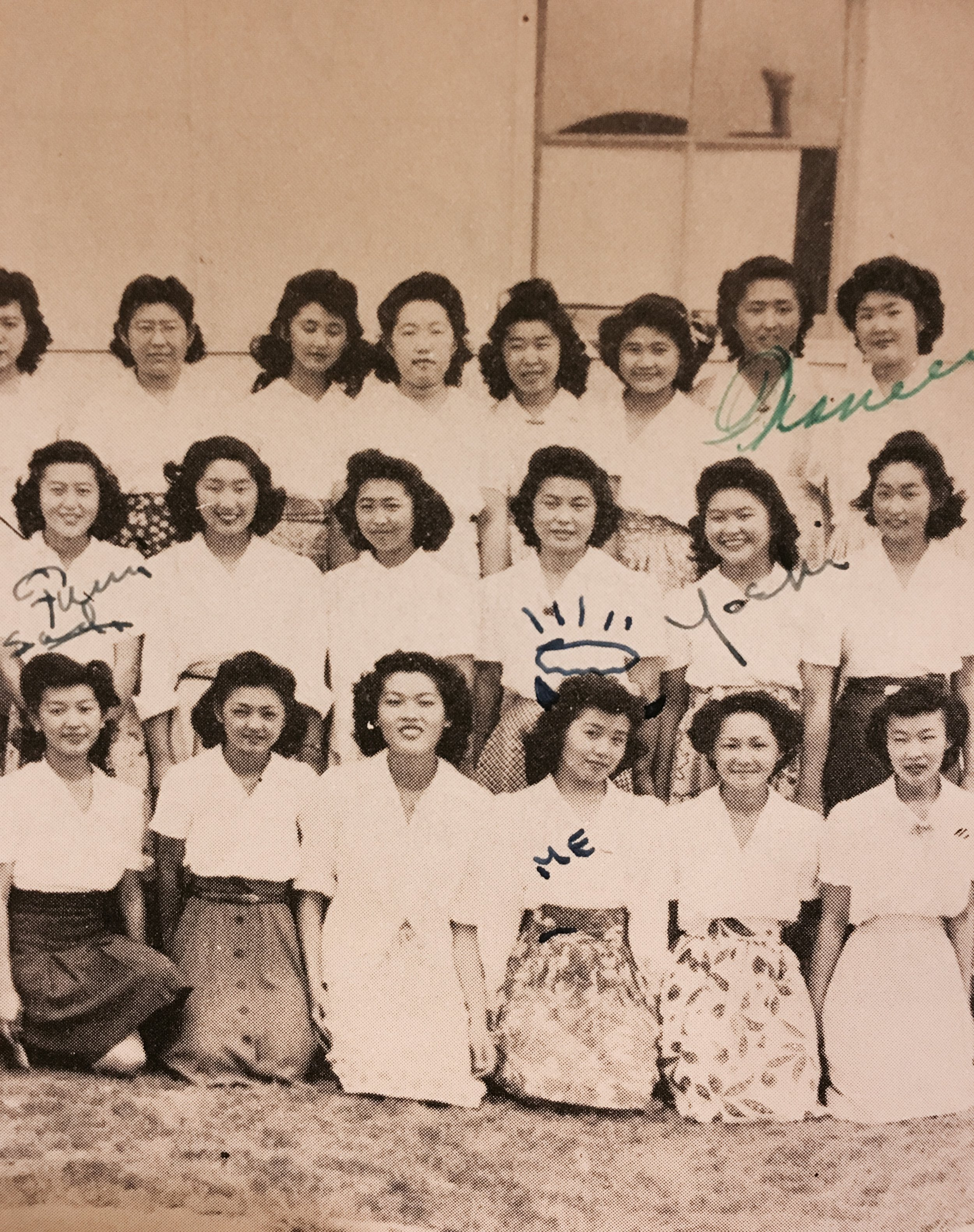 A high school photo of the Girl's League in Gila River. Alice is on the bottom row, third from left.