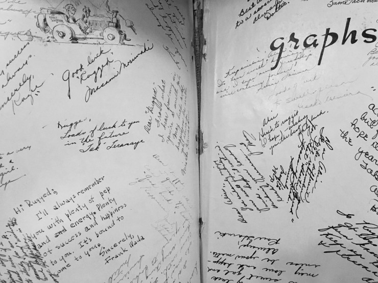 Alice's autograph page in the 1943 Butte High School yearbook