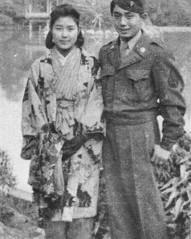 Kaz with a local Japanese woman in Narita Park, 1946