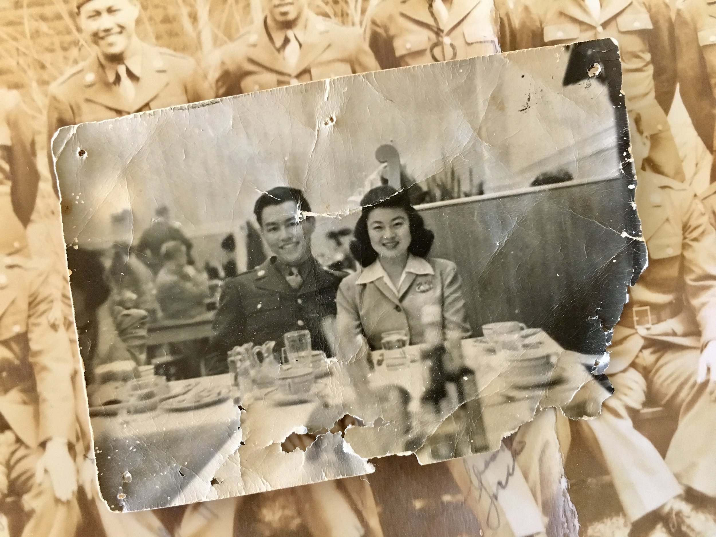George and Mary, shortly after they were married at Camp Savage. The wear and tear in this photo is worth a thousand words: George kept this photo with him during his service in the Philippines.