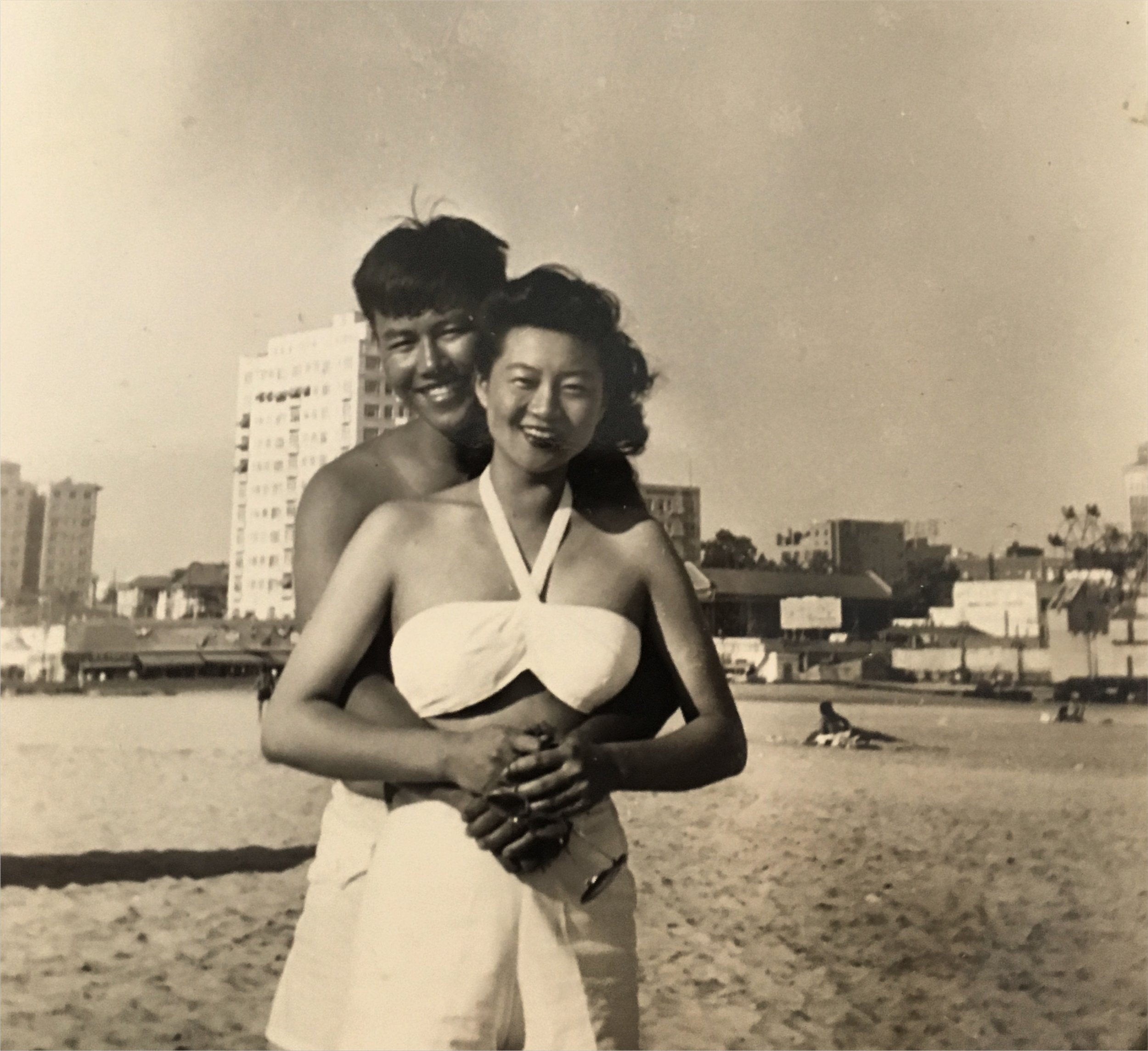 George and Mary at a beach in Southern California