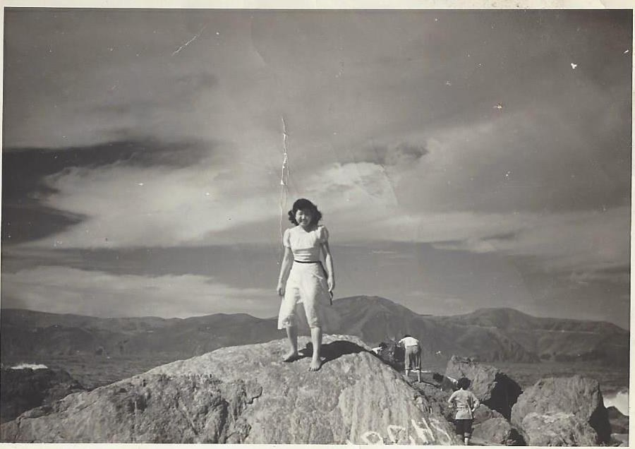 Mary Shiz Oka on top of Heart Mountain