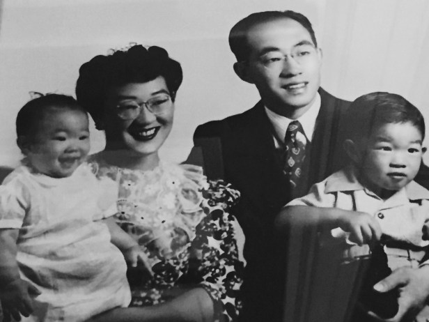 A Maebori family photo taken in Boise just before they returned to Auburn, Washington. From left to right: Teresa, Michiko, William, and Stan