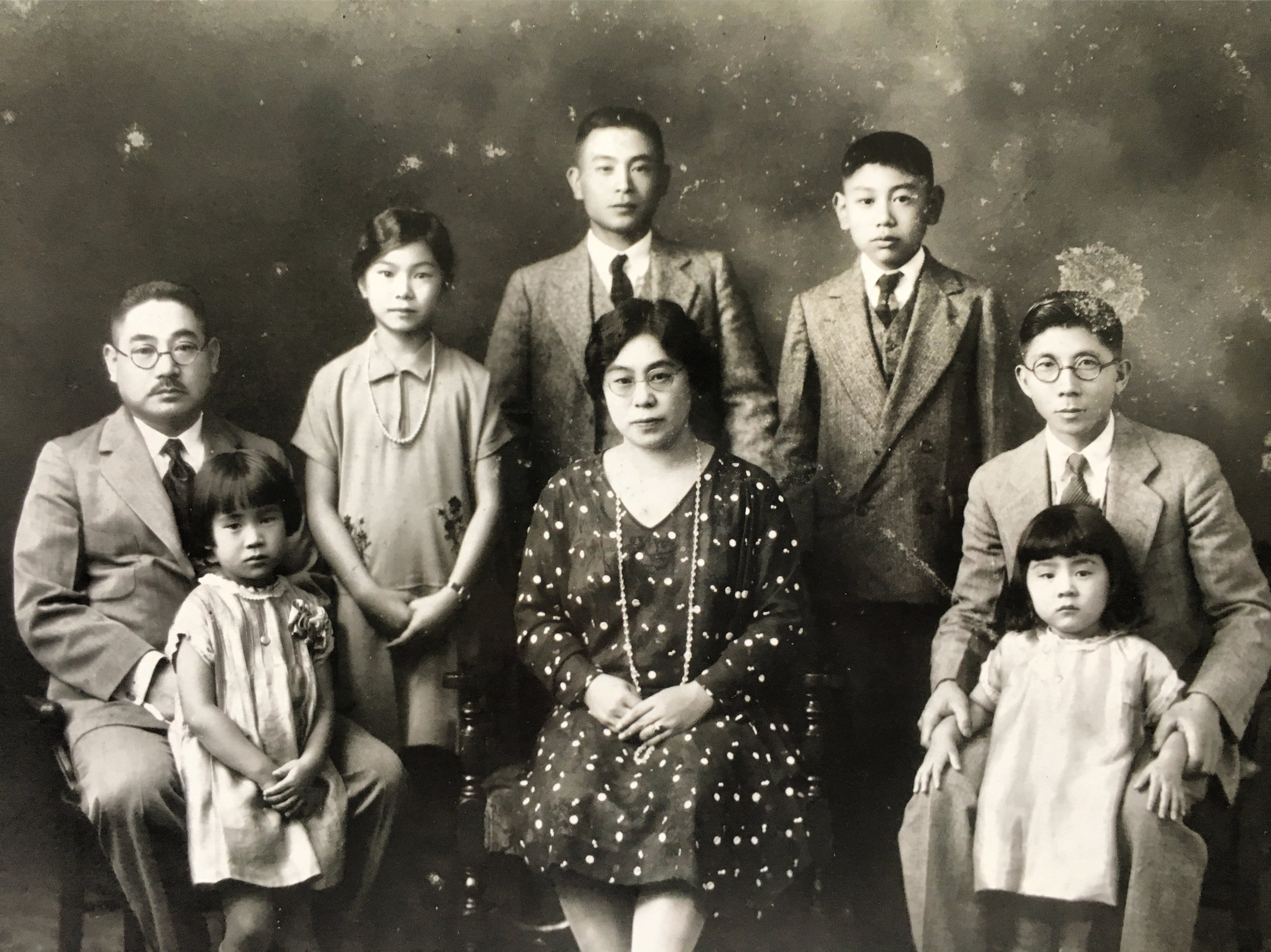 A Kageyama family portrait. Mary's father Tomitaro is on the far left, her mother Machi is center, and her future stepfather is on the far right.