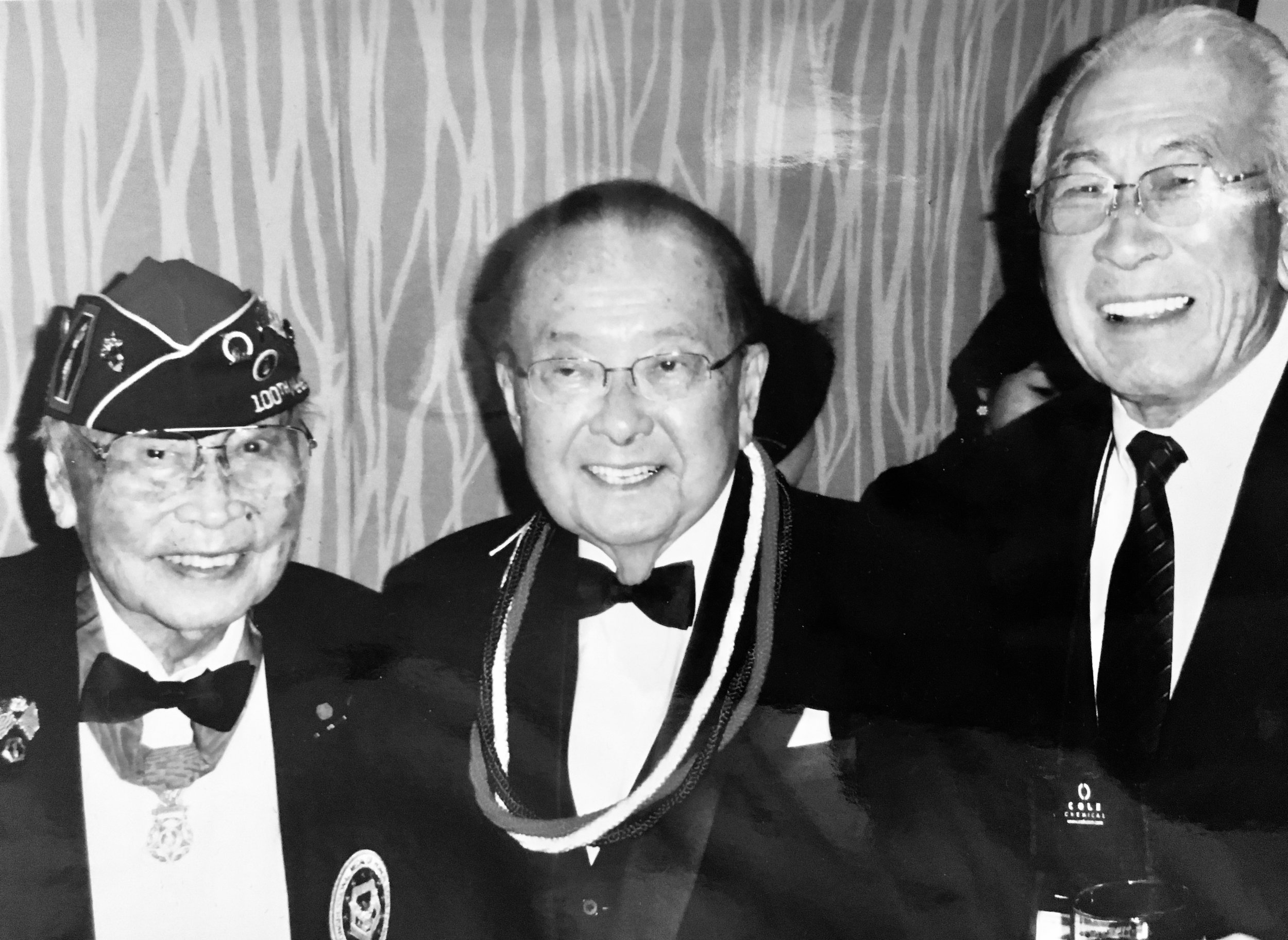 Senator Daniel Inouye (center) and Lawson Sakai (right).