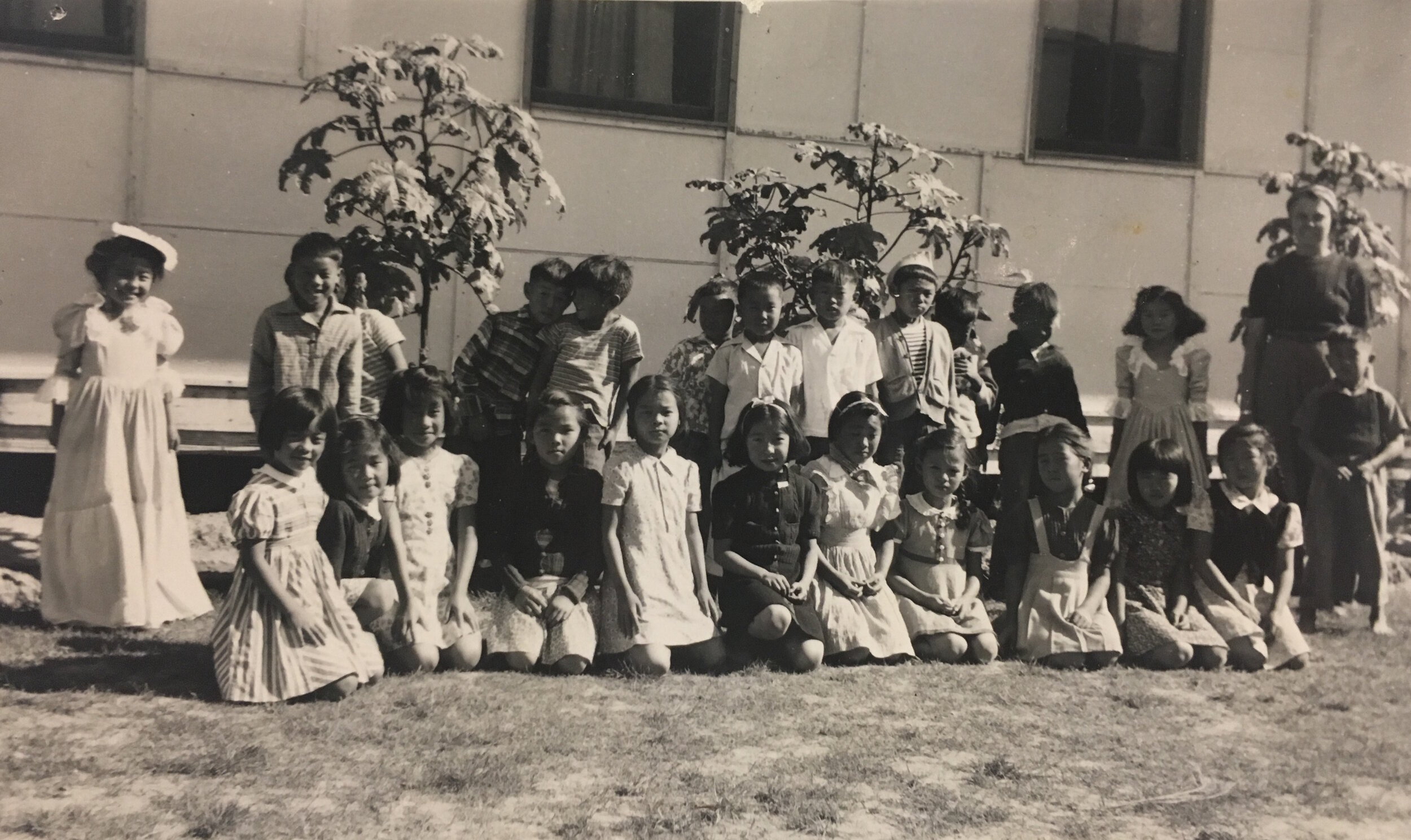 Yoshiko's third grade class in Gila River on Halloween. Yoshiko is in the first row, second from left.