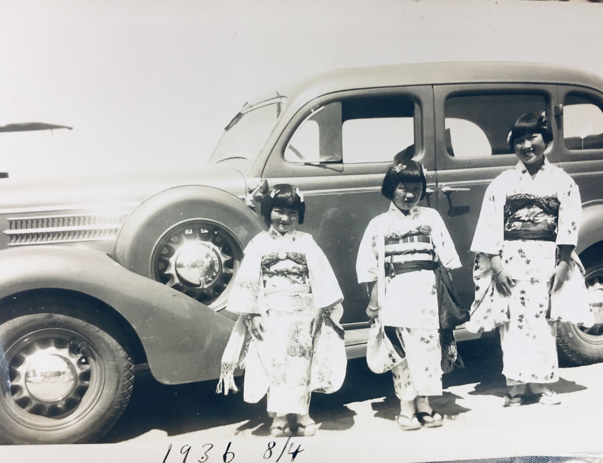 Rose, far left, and Mabel and Dorothy Uyeno, dressed in kimono to dance in the Salinas Obon.