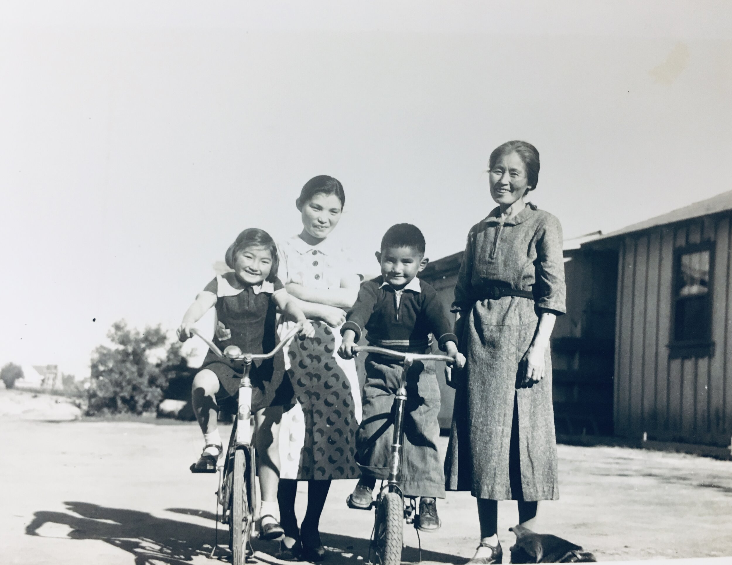 Rose, her mother Kikuyo Yonemoto Ito, her brother Roy Minoru Ito, and her grandmother, Chiyo Ito in Salinas, CA.