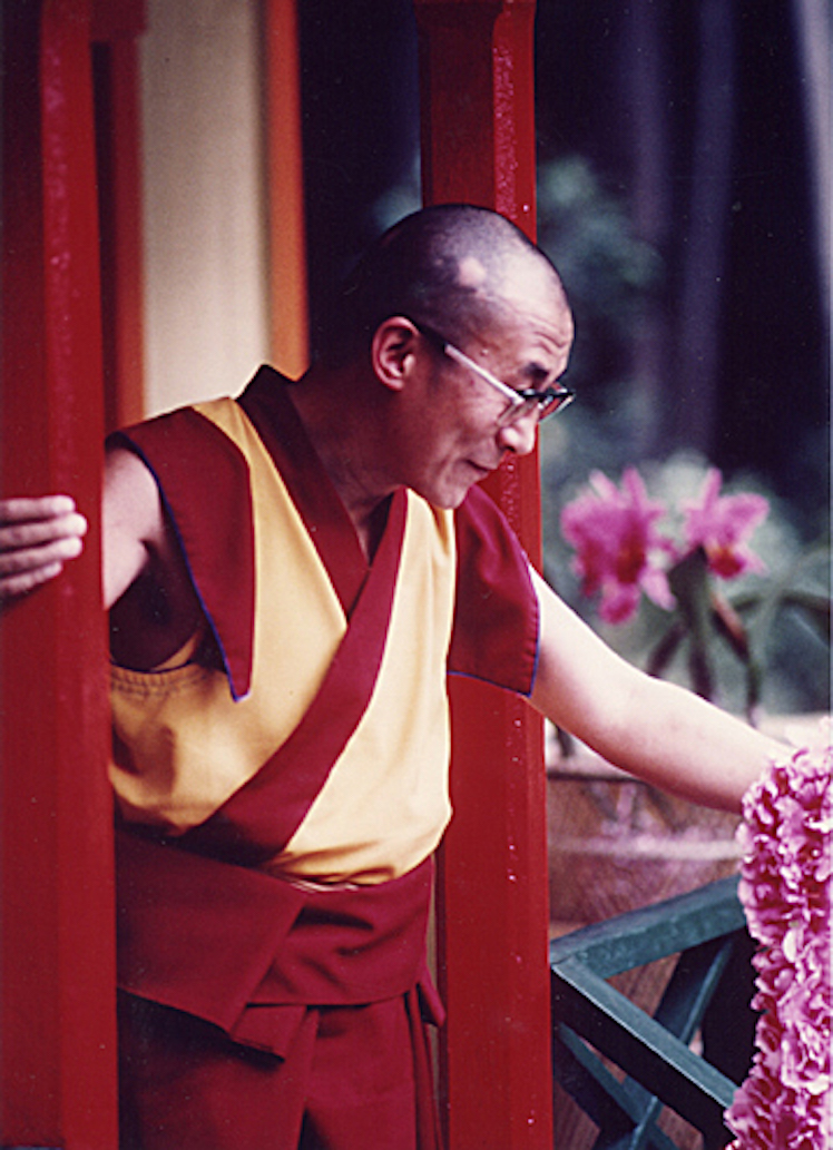 His Holiness at Nechung Dorje Drayang Ling in Wood Valley, Hawai`i in 1980
