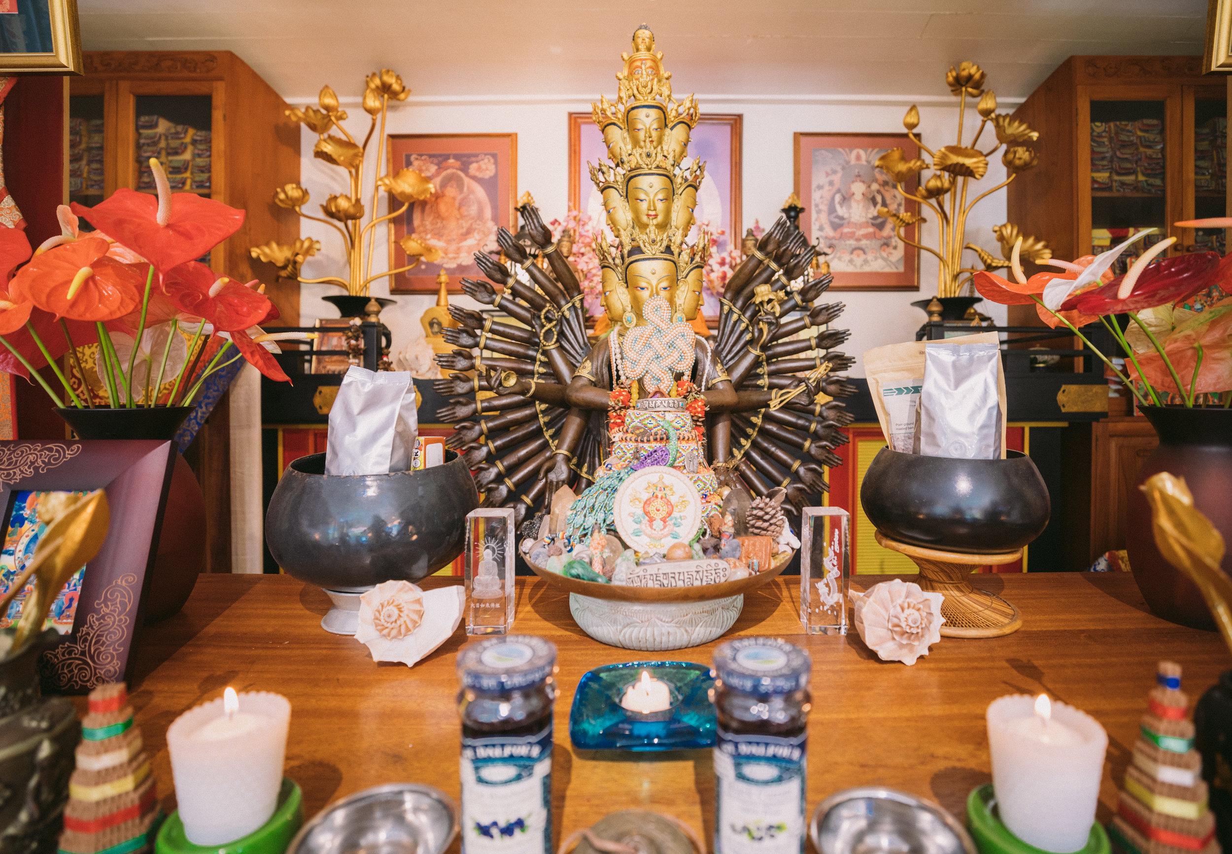 Shrine at Wood Valley Temple with 1000 Arm Avalokitesvara on January 1, 2019. Photo: Andrew Richard Hara