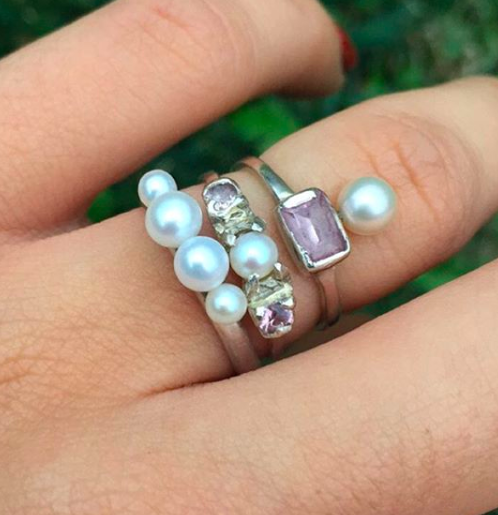 Four pearl ring set in sterling silver  Pink sapphires and freshwater pearl set in sterling silver  Pink CZ and freshwater pearl set in sterling silver