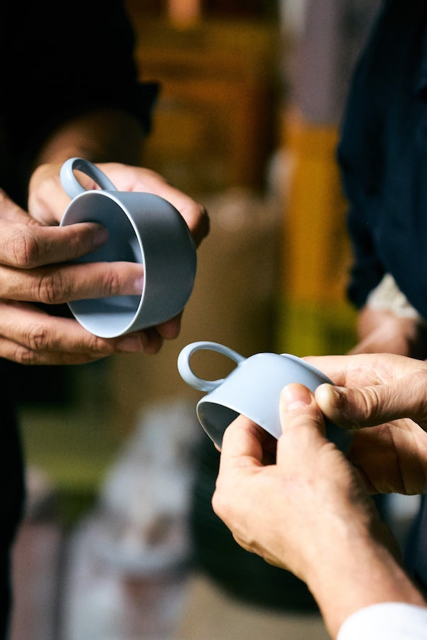 inspecting cups