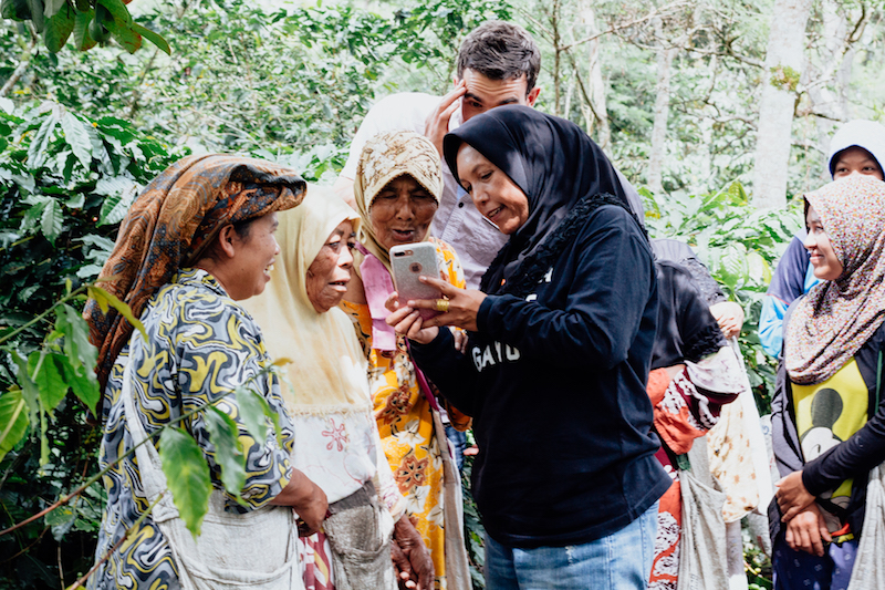 Coffee pickers with Rahmah, owner of the Ketiara Cooperative, looking at photos of themselves.