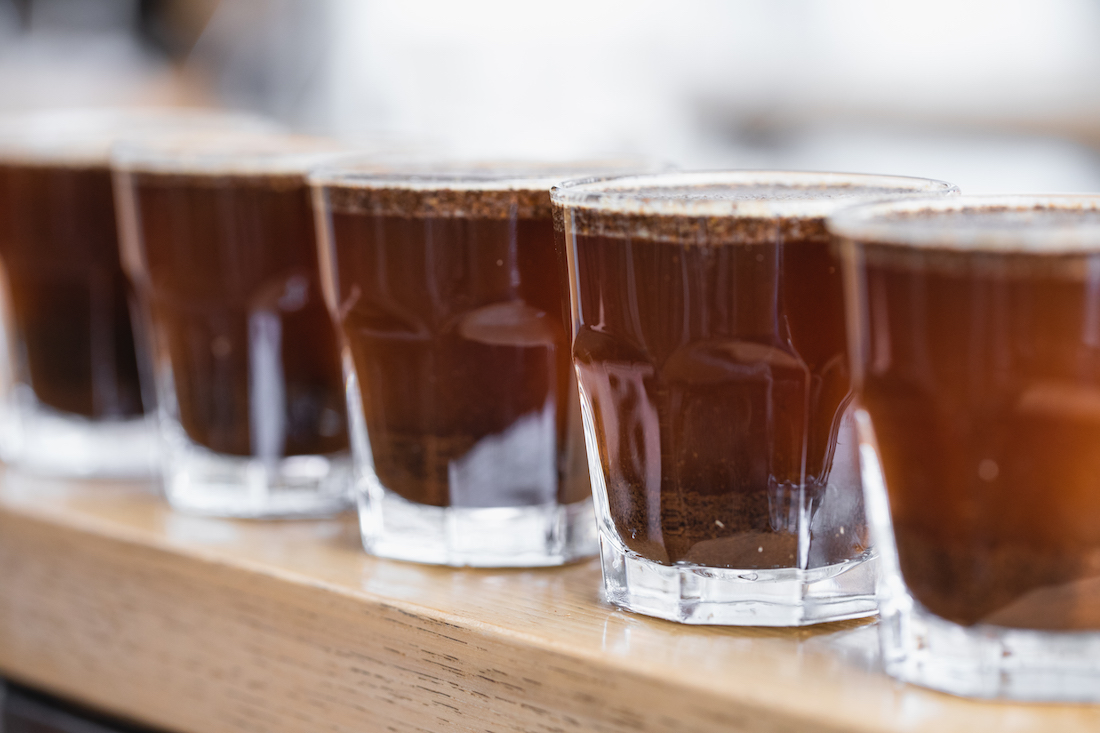 Five samples of one coffee prepared for cupping