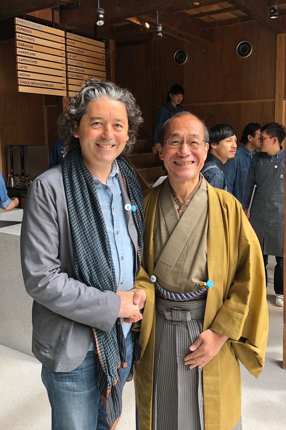 Blue Bottle CEO Bryan Meehan with the Mayor of Kyoto, Daisaku Kadokawa, at the opening of Blue Bottle's first Kyoto cafe