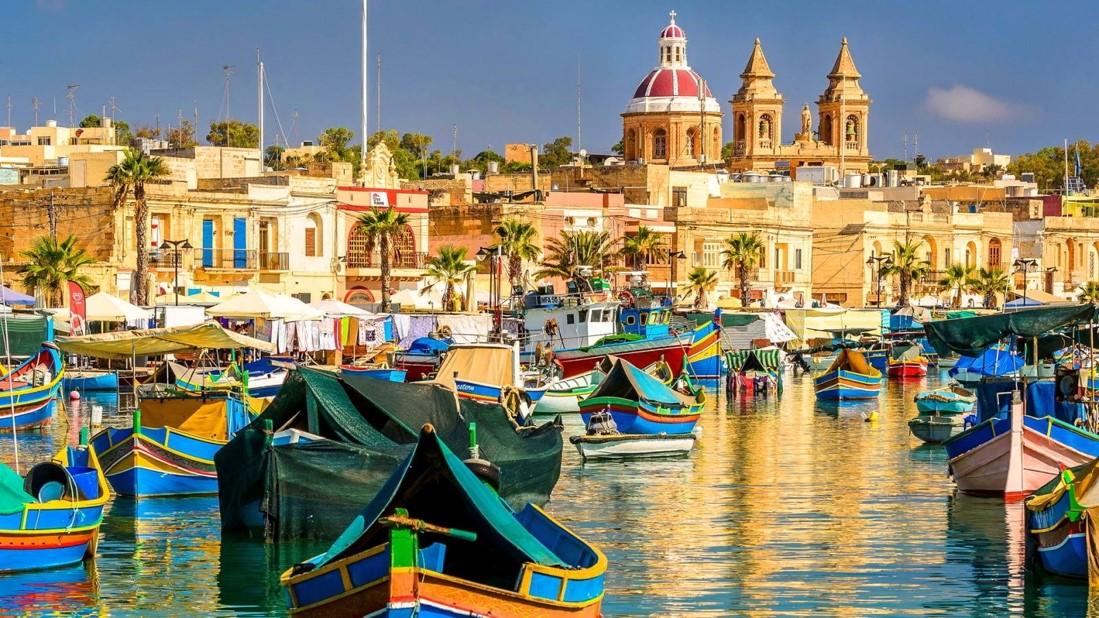 Maltese artisanal fishing boat on the harbour