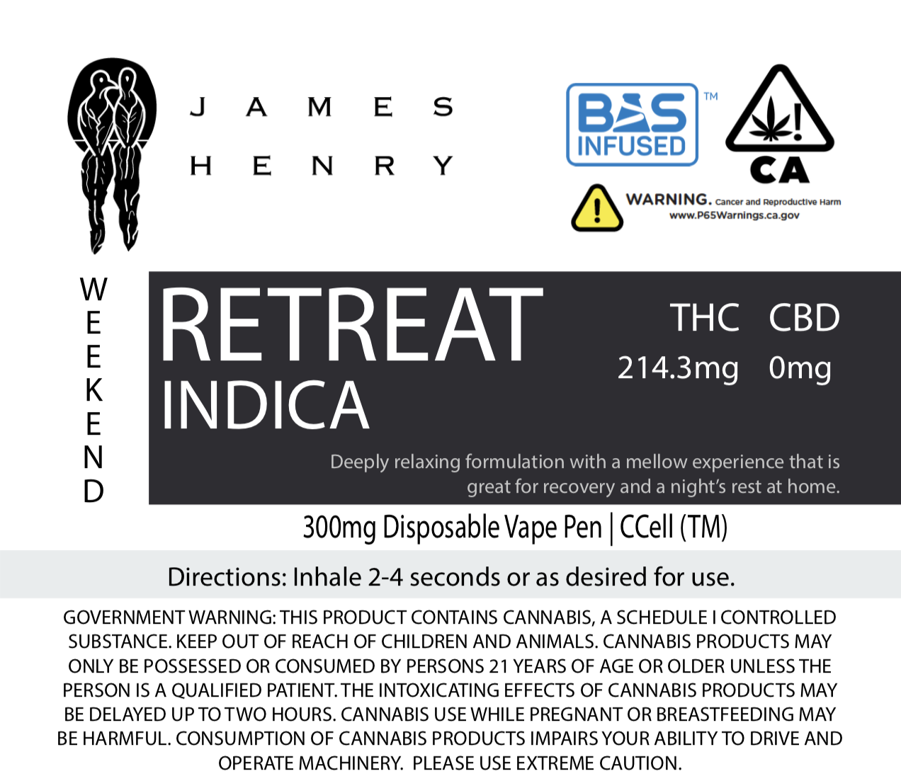 Weekend: Retreat Indica - Experienced consumers and patients find effective pain relief.Full THC formulation offers a deep relaxing experience that is great for recovery and rejuvenation at home and on weekends.Patients and Customers Have Noted Relief from the Following:-Anger Management-Loss of Appetite (this product induces appetite stimulation, which is great for cancer and auto-immune patients)-Insomnia-Muscular Pain/Soreness-Musical Appreciation-Trouble Getting to Sleep