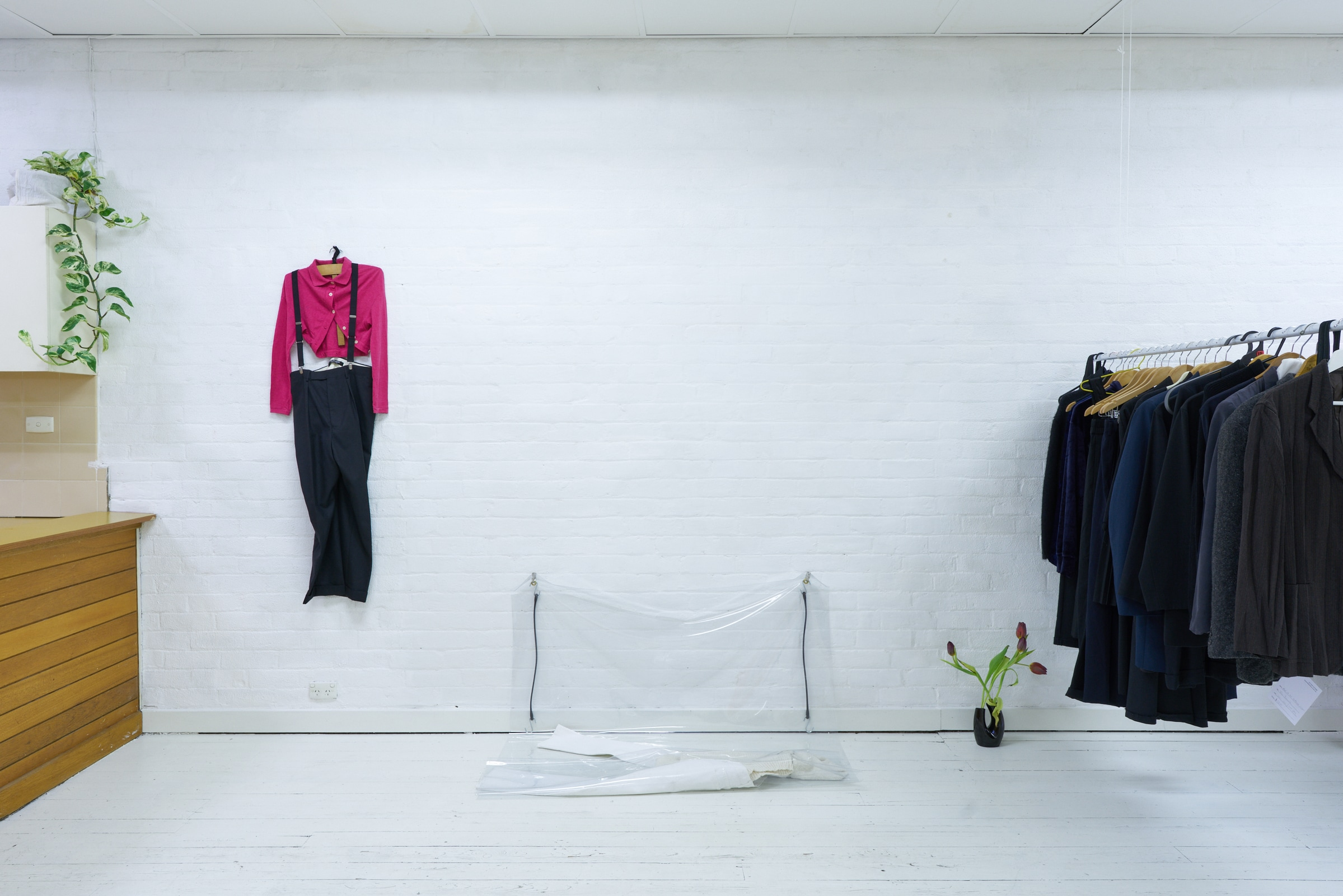 left to right: Tania Saxon,  Hanger from Props Dept. collection , Belgian. Date unknown.  Kobe Donaldson,  Variation on the foordrobe , 2019. PVC, EPDM rubber, brass.