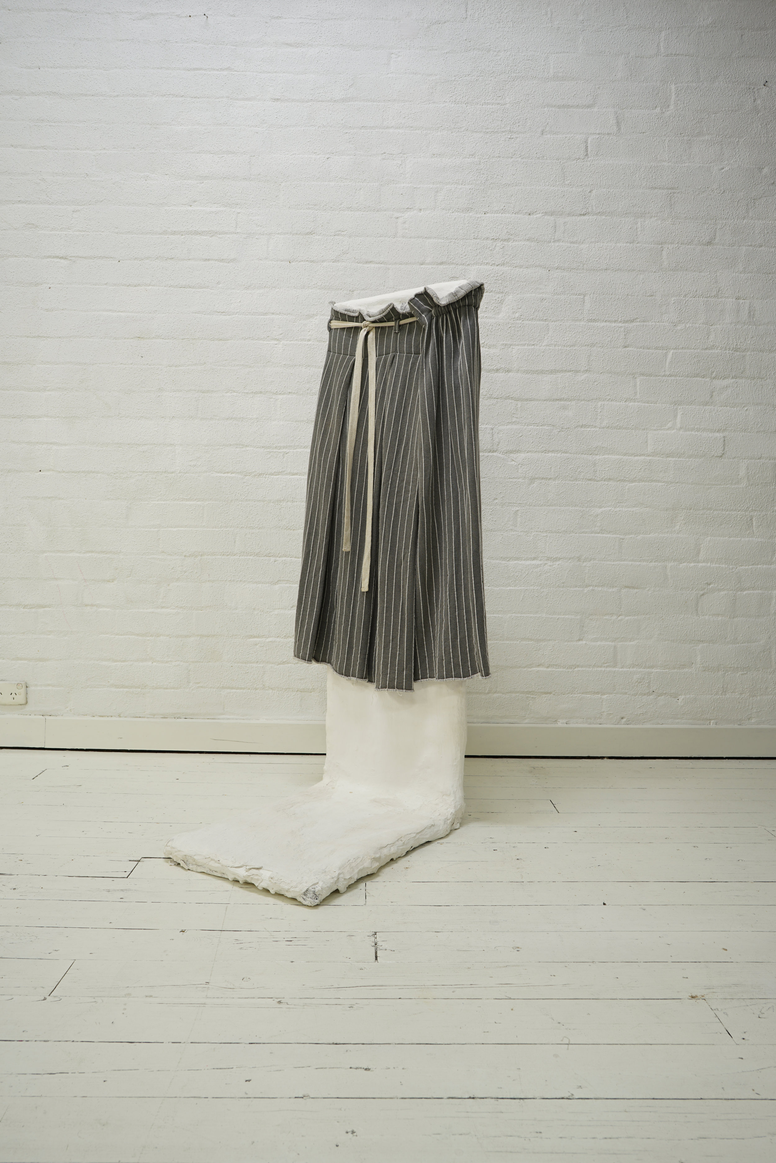 y's grey stripe waist tie flared pleat skirt  from the filter store collection