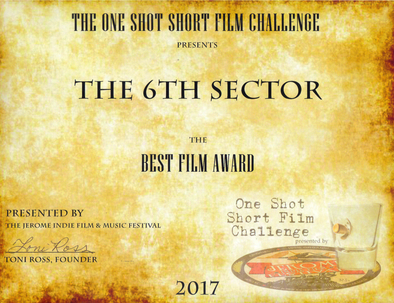 1st Place Film - One Shot Film Challenge - Best Director/Best Cinematography Adolpho Navarro