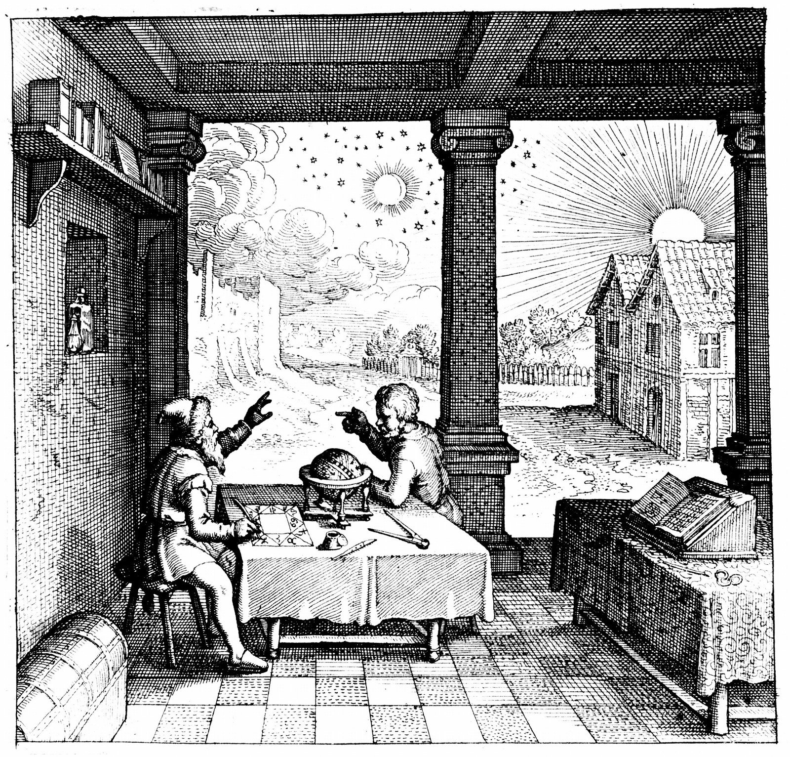 An astrologer casts a horoscope for a client - from Robert Fludd's  Utriusque Cosmi Historia  (1617)