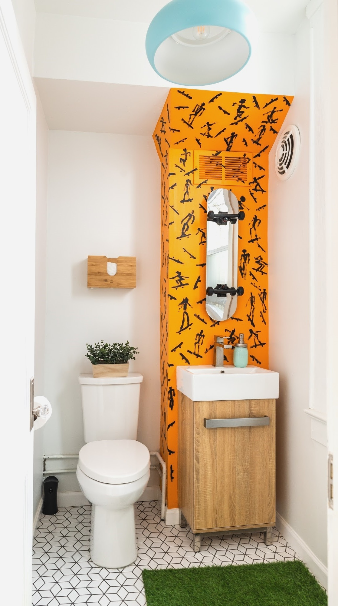 our skateboard park themed restroom may be the coolest loo in all of hyattsville. Designed by interior decorator kiyonda powell -