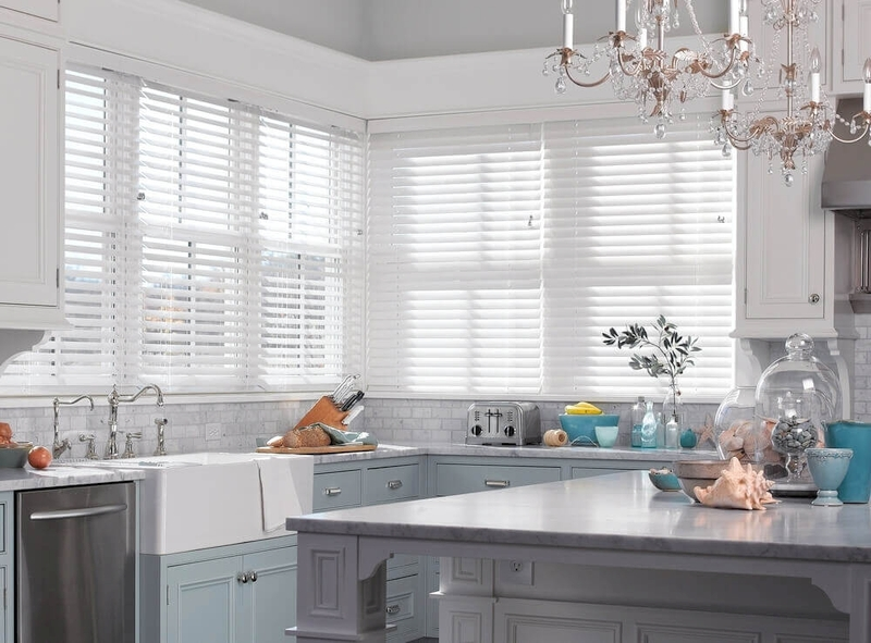 "2.5"" Faux Wood Blinds    Faux wood blinds are a great and durable option for kitchen spaces. Fully customizable colors, controls, valances and more to fit your decor perfectly. They're also a great option for your foyer, sidelights, picture window, bay window, entryway, guest room, nook and beyond."