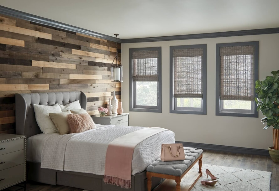 Woven Wood Roman Shade    Give a beautiful, earthy element to your room with bamboo shades from Horizons Window Fashions. Add a light filtering privacy or blackout liner to your shade for customized privacy and light control.