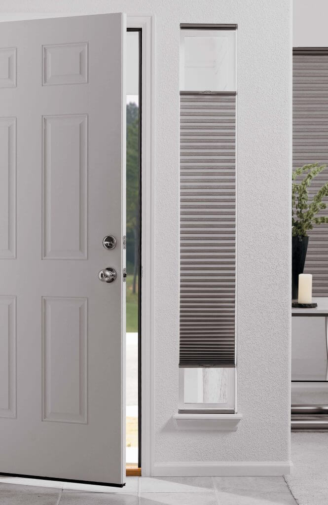 Sidelight Honeycomb Shade    Sidelight window treatments in your foyer can be covered for added privacy at an affordable cost. These full privacy top down bottom up cordless cellular shades are a great choice.  Shutters  are a beautiful idea, too!
