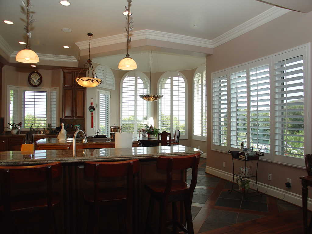 Plantation Shutters - Arched Windows    Shutters are customized to perfectly fit your arched, angle top, octagon, specialty shape or standard windows with an inside or outside mount frame.