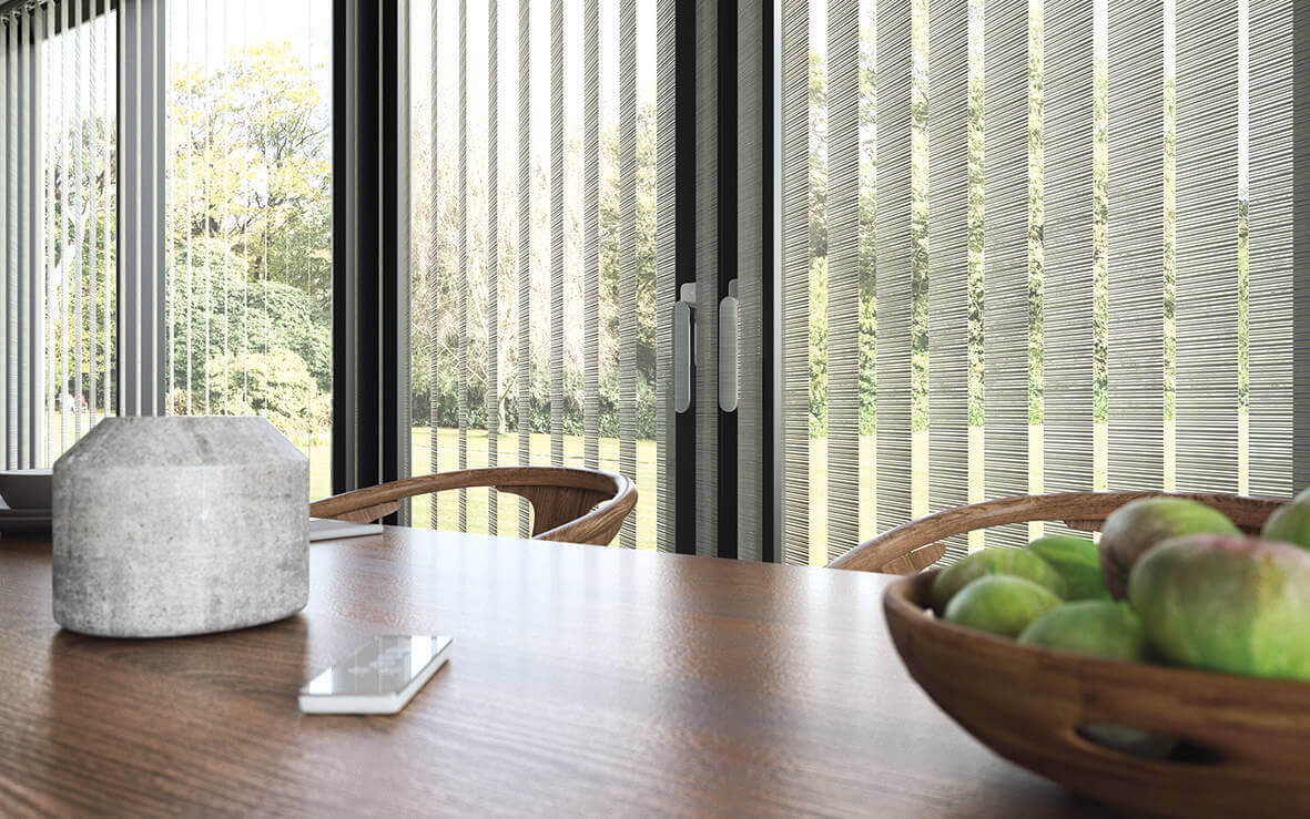 Fabric Vertical Blind    Block the sun and obtain privacy with fabric vertical blinds or shades. We have the colors and textures to compliment your personal style. Vertical blinds are also an excellent solution for over-sized sliders and windows.