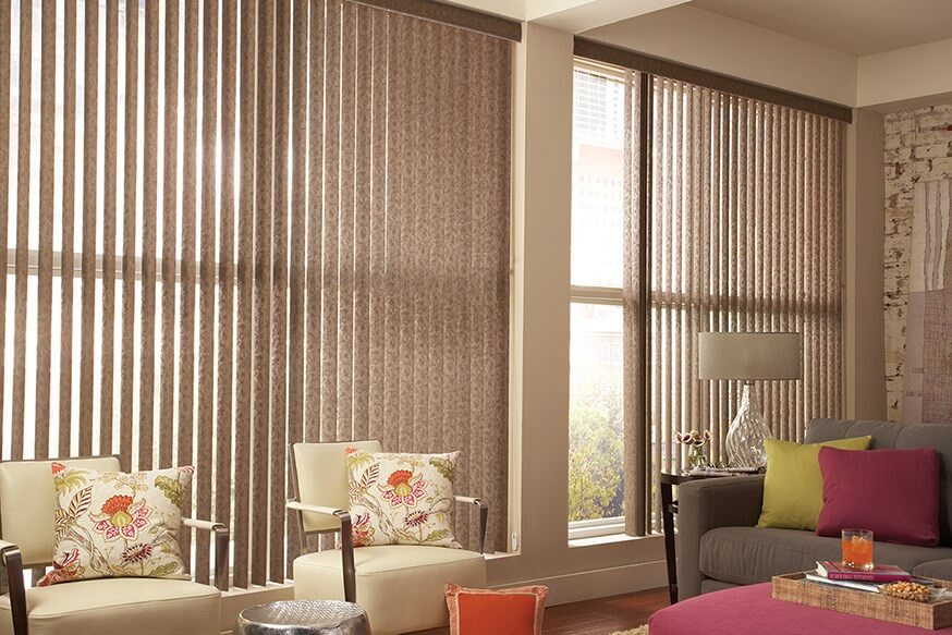 Patterned Vertical Blind    Looking for a budget-friendly solution for your large windows? Check out our selection of custom vertical blinds that come in dozens of textures and colors. You're bound to find the perfect fit for your home. We do it all for you at Budget Blinds of Olympia & Tumwater!