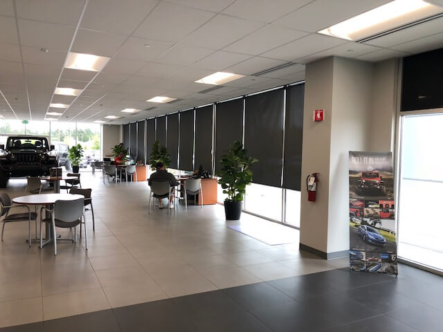 Car Dealership    Reduce the heat in your business by blocking the sun with solar shades. Your customers and employees will thank you.