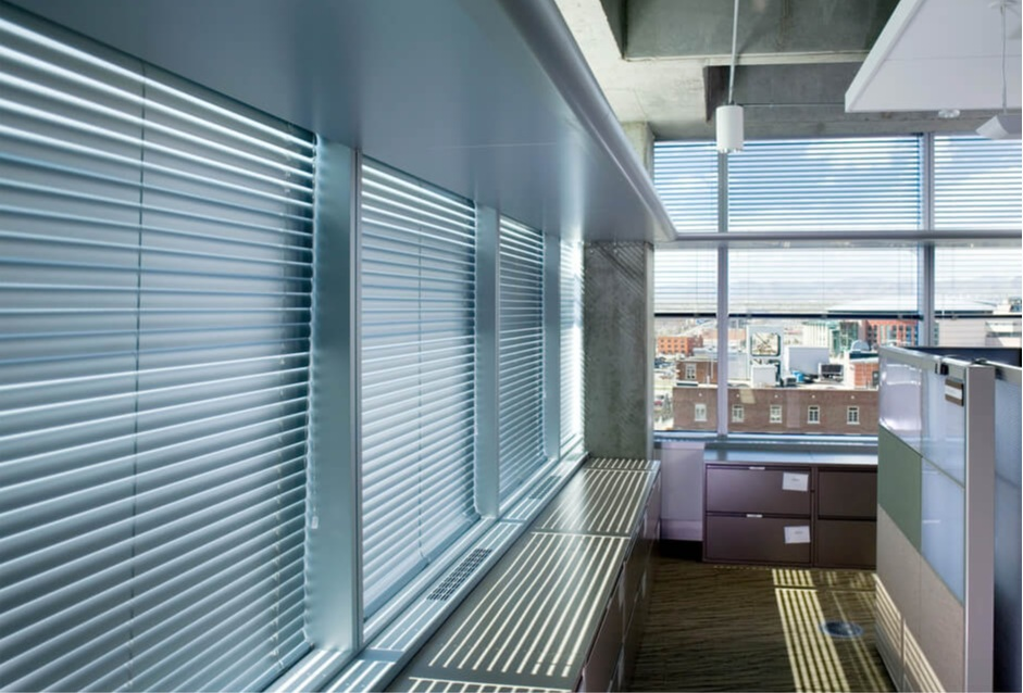 """Mini Blinds    Mini blinds are available in either 1"""" or 2"""" slats. They provide durability, light control, and are a clean and professional business window covering solution available at an affordable cost."""