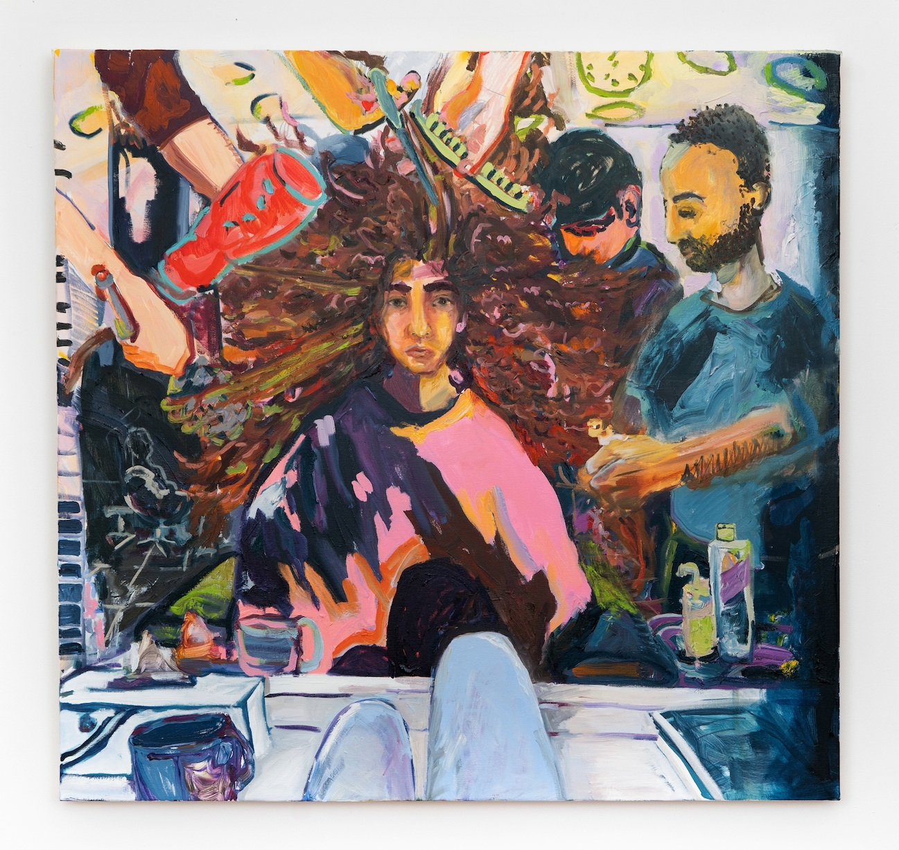 Hair, oil on canvas, 2018, 44 x 46''