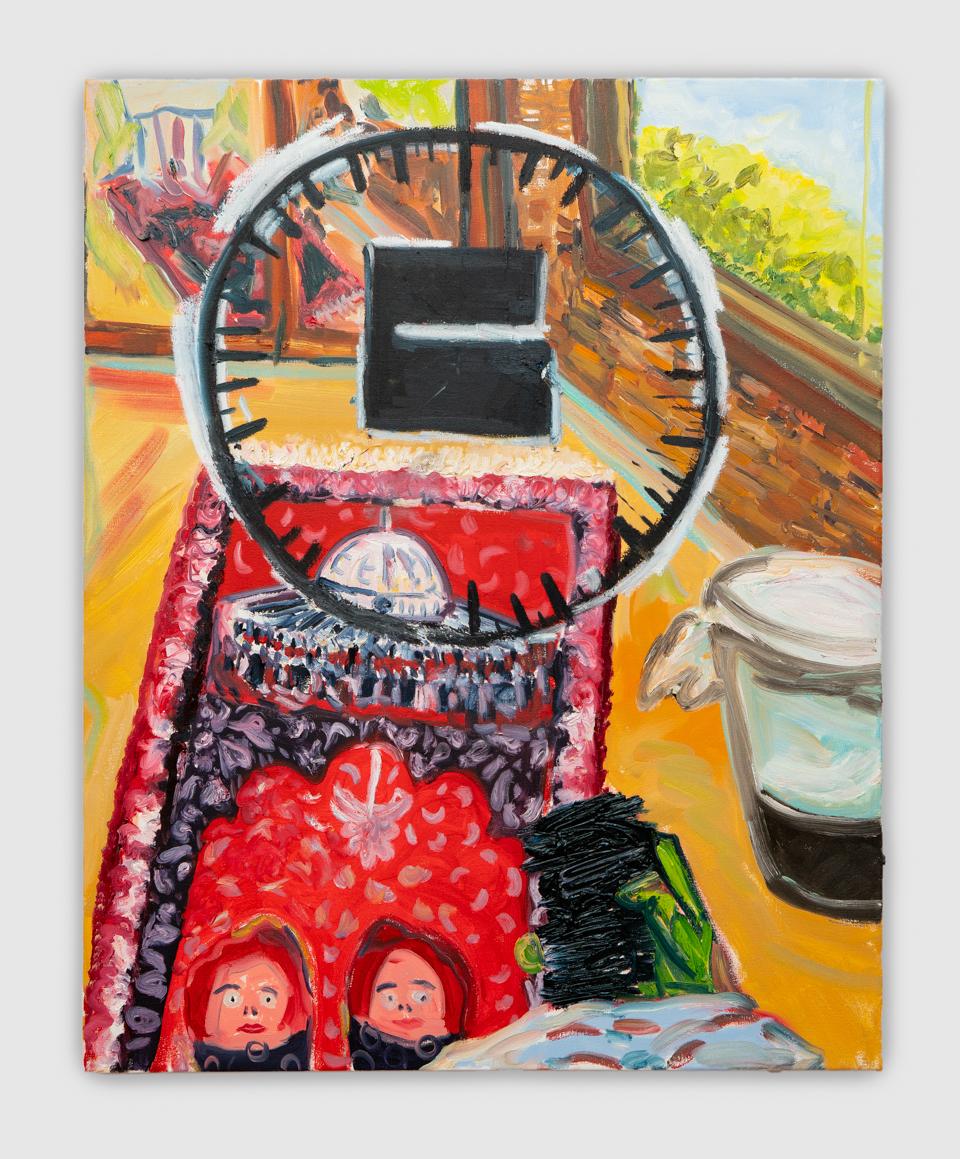 Qibla Compass, oil on canvas, 2018, 35 x 44 ''