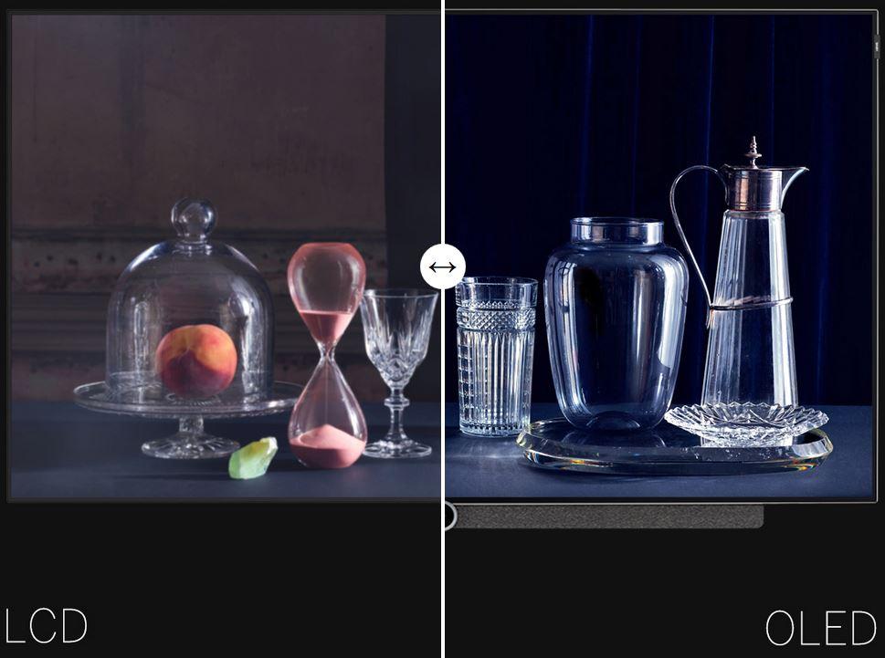 Wieso haben OLED-Displays ein besseres Bild? - OLED-Displays haben gegenüber herkömmlichen LED-TV's den Vorteil, dass sie ohne Backlight auskommen.Die OLED-Pixel leuchten selbst, können direkt in den gewünschten Farben angesteuert werden und erzeugen direkt das sichtbare Bild. So erstrahlen die TV-Bilder in leuchtenden lebendigen Farben und einem grossen Detailreichtum. Ist der Pixel ausgeschaltet haben wir echtes Schwarz und damit einen optimalen Kontrast.