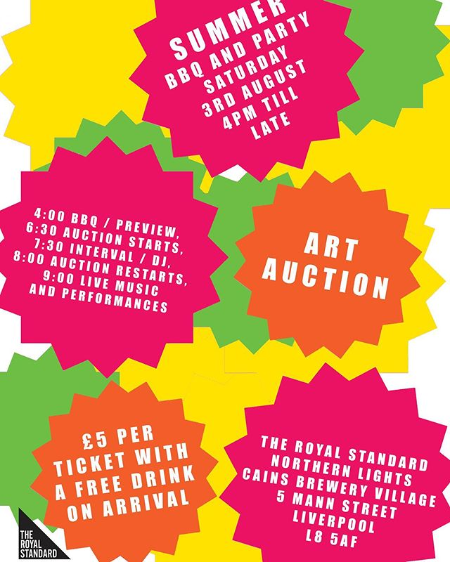 This Saturday @theroyalstandard_ are hosting their annual summer fundraiser.  All profit raised from the fundraiser will go towards supporting The Royal Standard to deliver their free exhibitions and public programme. #artauction #fundraiser