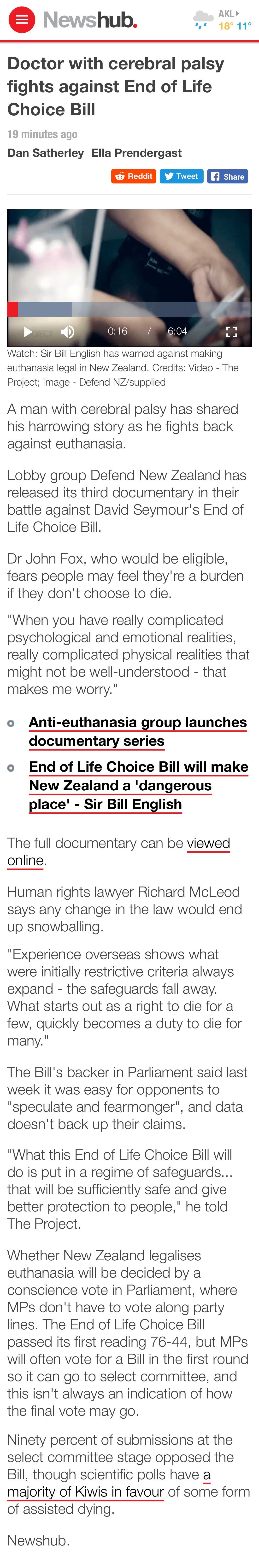 Screenshot of Newshub Website taken Sunday 7 April at 7:11am, of article since removed from Newshub website.