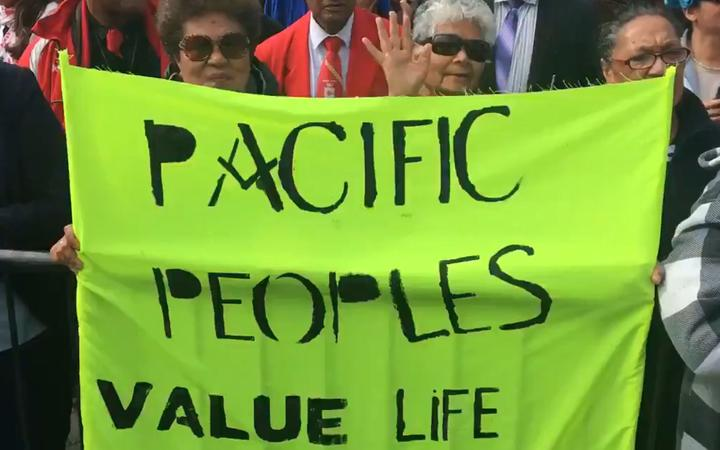 A banner at the protest against the End of Life Choice Bill. Photo: RNZ Pacific / Dominic Godfrey