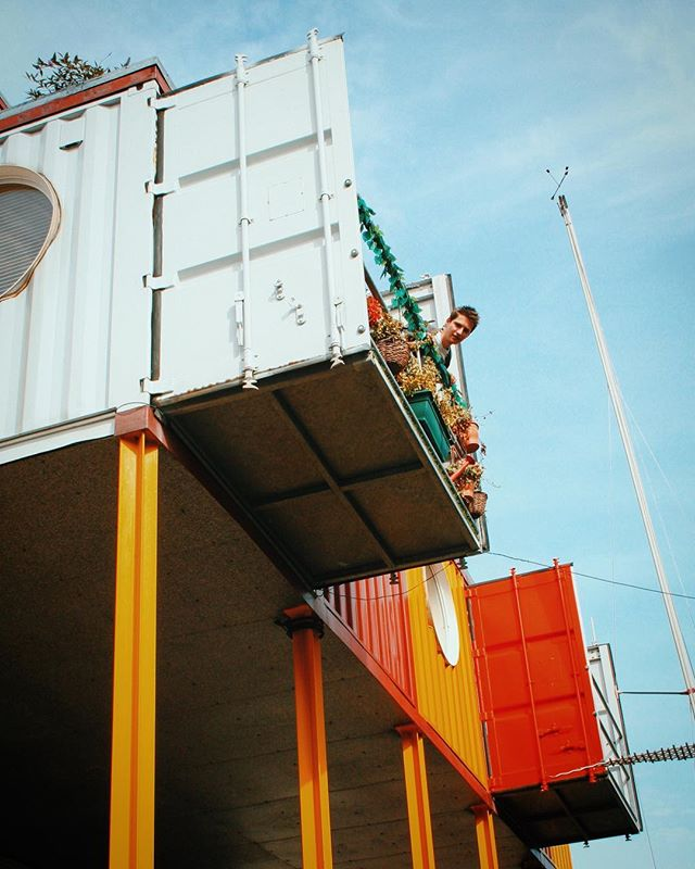 Container City 2 balcony detail. The building  offers 5 floors of workspace, with 22 studios occupied by creative businesses #containercity