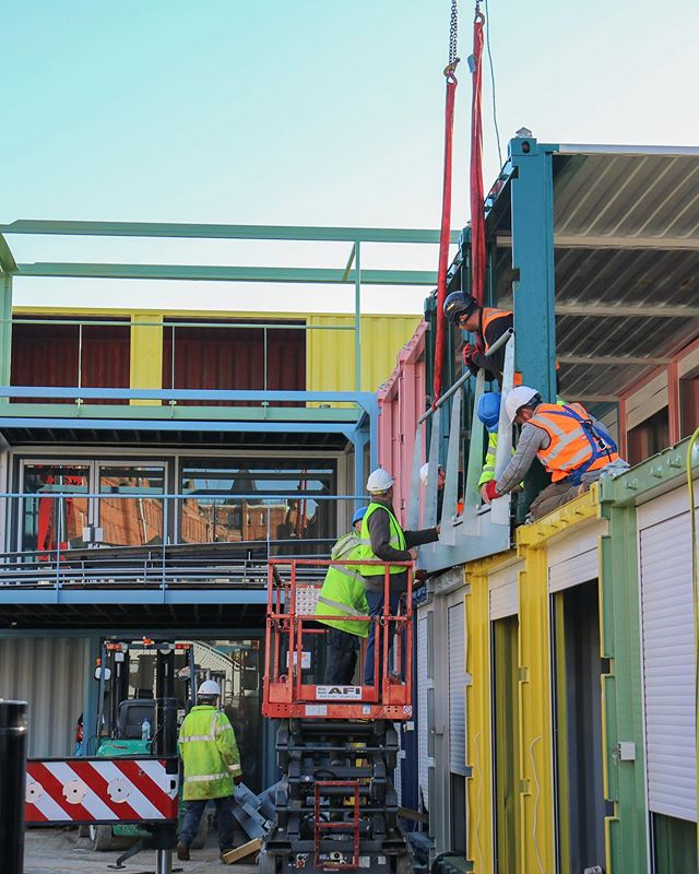 Our team are currently on site working on our latest container scheme for Camden Market #ContainerCity