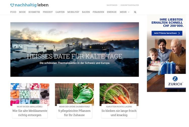 Abb. 1: Screenshot von der  nachhaltigleben -Startseite.